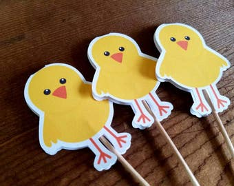 Farm Birthday Party - Set of 12 Chick Cupcake Toppers by The Birthday House