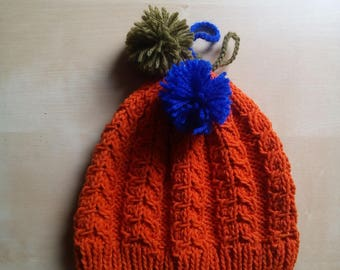 Cotton wool beanie for baby handmade tricot with orange double braids with colored Pompom Mountain sporty