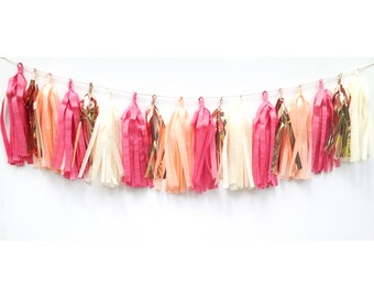 Tassel Garland in Flamingo Island, FREE Shipping, Coral, Peach, Pink, Copper, Kids, Childrens, Birthday, Wedding, Home, Party, Decor