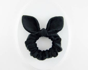 Knot Bow Scrunchie Soft Hair Tie, Black