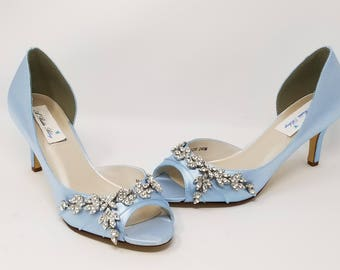 Blue Wedding Shoes Blue Bridal Shoes with Crystal Design PICK FROM 100 COLORS