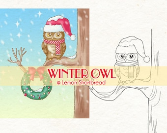 Digital Stamp Winter Owl Christmas Wreath, Digi Download, Snow, Merry, Coloring Page, Clip Art Card Scrapbooking Supplies