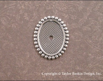 Antiqued Sterling Silver Plated Beaded Bezel Cameo Setting 18x13 mm (item 1504 AS) - 6 Pieces