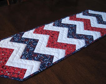 Patriotic Zigzag Quilted Table Runner - red, white, and blue table runner in chevron design