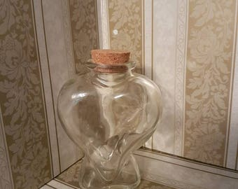 Large Heart Glass Jar with Cork Lid