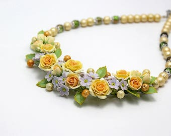 Handmade necklace with polymer clay peach roses and myosotis flowers