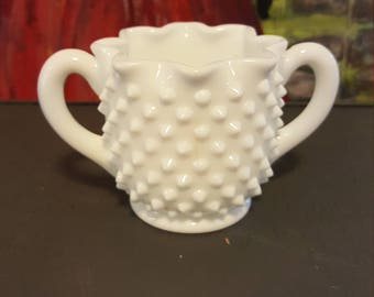 Fenton White Hobnail milk glass creamer