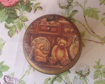 Vintage Teddy Bear Toffee Tin/Brown and Gold Tin/ Teddy Bears on Vintage Dresser/ Collectible Tin