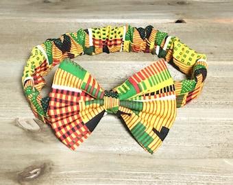 African Kente Headband- African Kente Bow; African Kente Hair Bow; African Kente Outfit; Toddler Headband; Newborn Headband; Bow Headband
