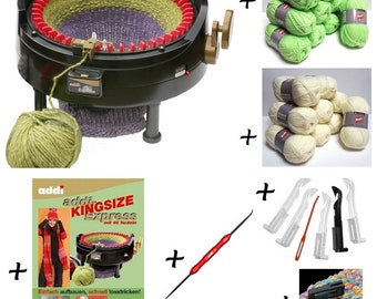 Savingsset: ADDI Express king with 46 needles plus accessories plus instruction book plus 1000 g wool