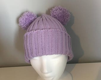 Adults Handmade Knitted Double Pompom Bobble Hat (variety of colours available)