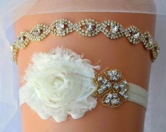 Bridal Garter Wedding Garter gold Bridal Crystal Wedding Garter Set Ivory Shabby Chic Bridal Garter Rhinestone Garter Toss Sash Belt