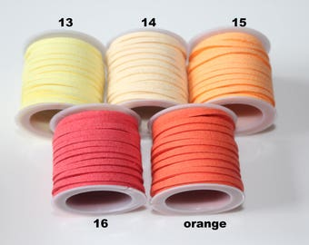 1 m cord Swedish / suede / pink, yellow, salmon, orange... 3 mm