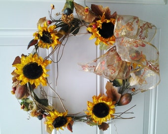 Wreath of Sunflowers with Silk Bow