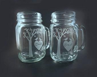 Mugs personnalisés Mason Jar avec arbre fleurissant et Sweetheart oiseaux – des mères, cadeau de mariage - Mason Jar – Mason Mug