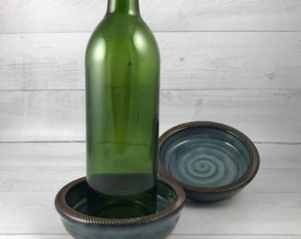 Wine Coaster, Red Wine Bottle Coaster with Textured Rim, Wine Holder, Wine Caddy, Wine Saucer, In Stock and Ready to Ship
