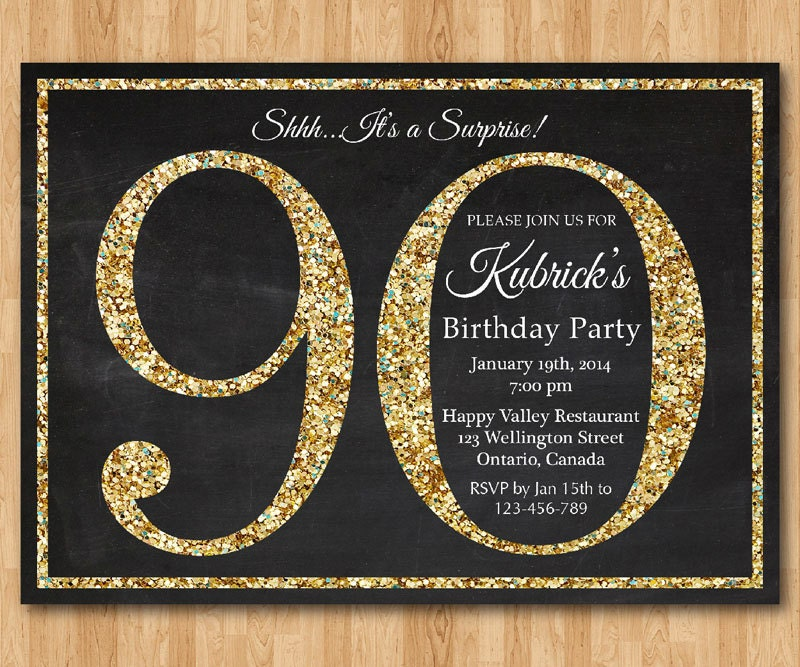 90th birthday invitation Gold Glitter Birthday Party invite