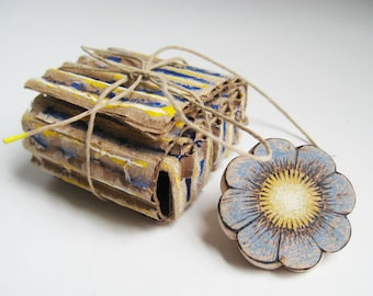 Blue Flower Brooch, Blue and Yellow Pin, Wood Tie Tack, Pyrography Flower, Painted Flower Pin, White and Blue Pin