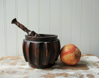 Vintage wooden mortar and pestle made in Spain wood ribbed apothecary pharmacy decor