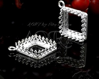 1pcs 925 Sterling Silver Wire Crown Bezel Pendant for 12x12mm Square Cabochon, White Silver Color, Shiny Silver, Made in Israel, 2764ws,