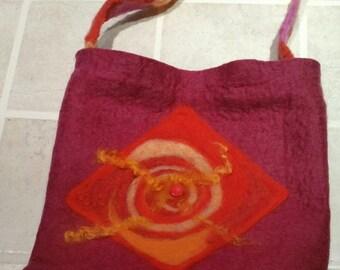 Fiery Mandala Felted Bag