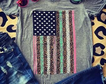 Aztec Leopard Flag T-shirt