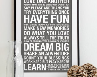 Family Rules Sign Subway Art Print House Rules Family Rules Poster Playroom Bus Roll