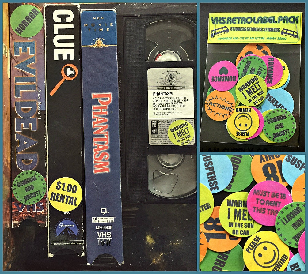 24 Totally Rad Vhs Sticker Labels