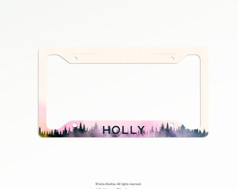 Personalized Car License Plate, Monogrammed License Plate Frame, Forest Car Plate Frame, Individualized Car License Plate Frame Set 02.