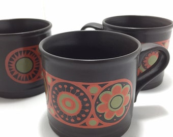 Vintage Brown With Orange Circle Pattern Kiln Craft Mugs  Made in England