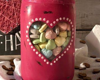 Valentine's Distressed Mason Jar With Heart Window