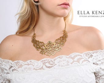 Gold Statement Necklace, Gold Bib Necklace, Gold Collar Necklace, Gold Bridal Statement Necklace, Gold Wedding Statement Necklace