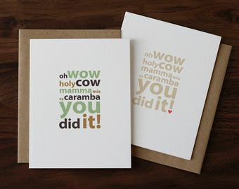 Graduation, Wedding or Engagement Card - You Did It! - Humorous Congratulations Card - College or High School Graduation Card - 031