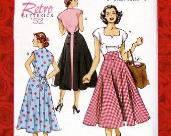 Butterick Sewing Pattern B6212 Wrap Dress, Sweetheart Neckline, Misses' Sizes 14 16 18 20 22, Retro 1950's New Look MCM Summer Fashion UNCUT