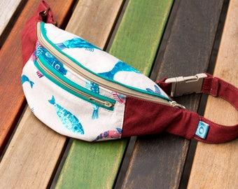 Hip Bag for Her, Belt Bag, Bum Bag, Waist Bag, Festival Bag, Gift for Her, Fishes, Red Hip Bag, Fanny pack, Blue fishes