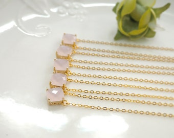Bridesmaid gifts - Set of 3,4,5,6 - pink necklace, pink crystal necklace,wedding, soft pink, glass stone, square stone