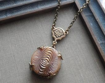 Vintage German Glass Button Necklace, Parabola