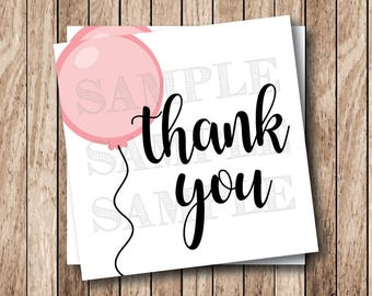 Instant Download . Printable Thank You Tags, Pink Balloon Thank You Tags, Printable Thank You Balloon Tags