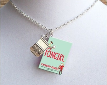 Fangirl with Tiny Computer Charm - Miniature Book Necklace