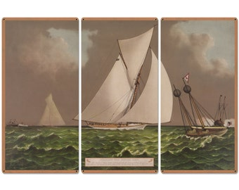 """Nearing The Finish Line, The America's Cup, Volunteer, Currier & Ives 1887, Triptych Metal Sign, Americana, Wall Decor, Wall Art 54""""x36"""""""