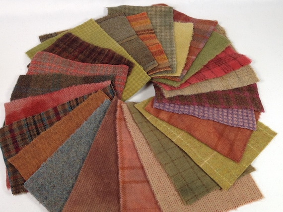 Autumn Garden, 24 Wool Pieces for Applique and Craft projects, W477, Primitive Colors, Charm Pack, Fall Colors, Penny Rugs