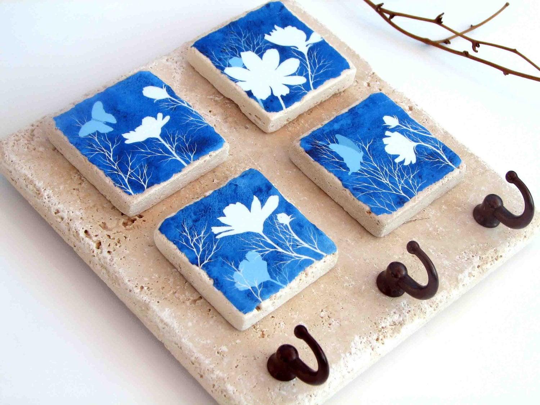 Blue key rack ceramic tile key hook wall organizer zoom dailygadgetfo Choice Image