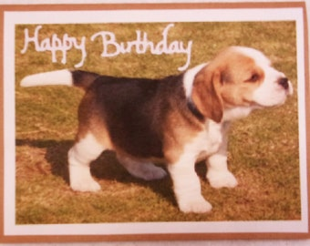 Happy Birthday Greeting Card, Beagle Puppy Handmade Card, Beagle Dog Greeting Card, Made in the USA, #6