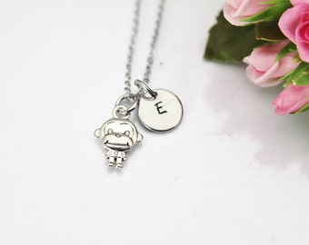 Monkey Necklace, Silver Monkey Charm, Animal Charm, Wild Animal Charm, Mother's Day Gift, Sister Gift,  Gift for Aunt, Grandmother Gift N160