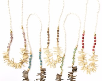 Coconut Spike Beads with Sea Glass and Wood Beads