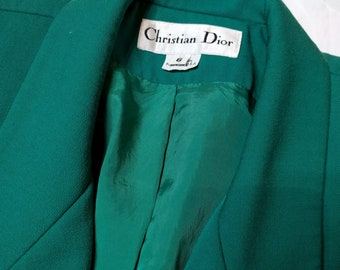Vintage Dior 1980's Emerald Green Blazer and Skirt with Gold Buttons- S