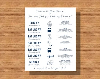 Destination Wedding Welcome Weekend Itinerary, Wedding Welcome Schedule of Events, Printable Wedding Schedule, Itinerary for any Event