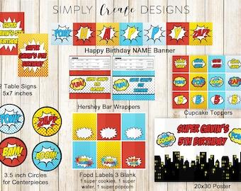 Superhero Party Package SALE Hero Party Printable DIGITAL