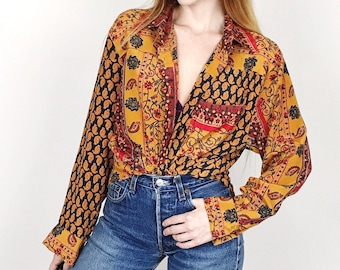 Vintage Colorblock Printed Baroque Oversized Lightweight Blouse Top // Women's size Medium M
