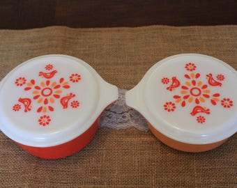 Rare Set of Red/Orange Friendship Pattern Vintage Pyrex Casseroles (#471 and 472)